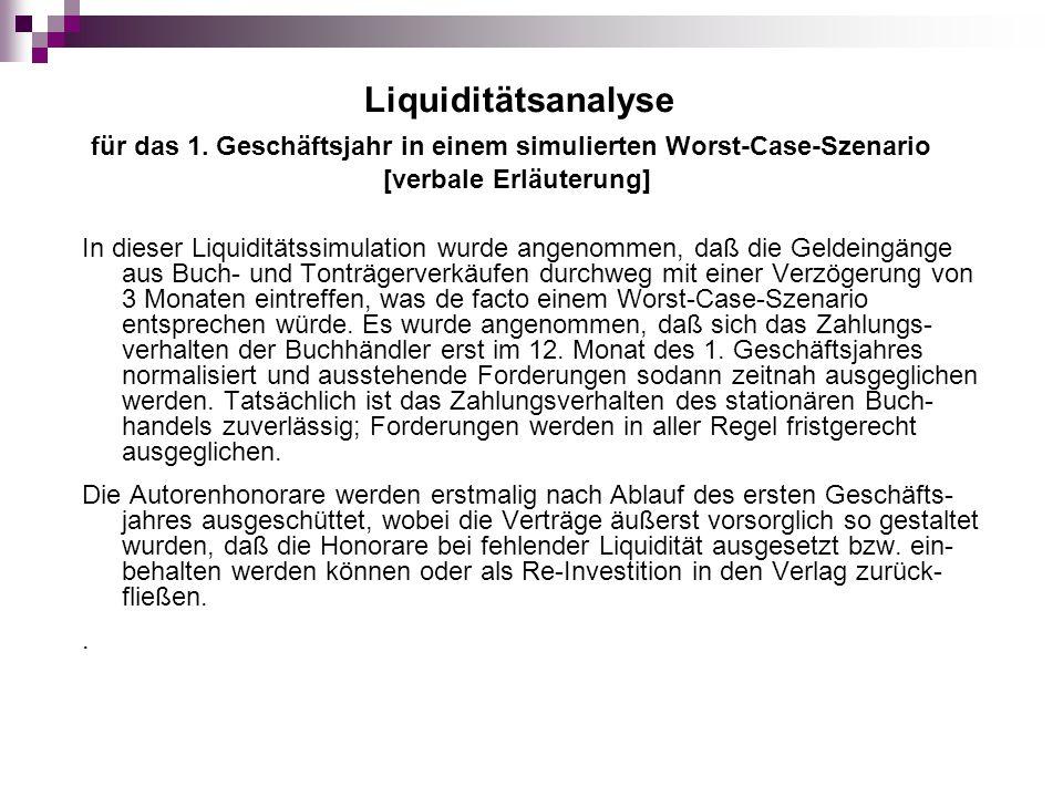Liquiditätsanalyse für das 1. Geschäftsjahr in einem simulierten Worst-Case-Szenario. [verbale Erläuterung]